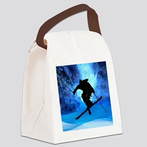 Winter Landscape and Freestyle Sk Canvas Lunch Bag