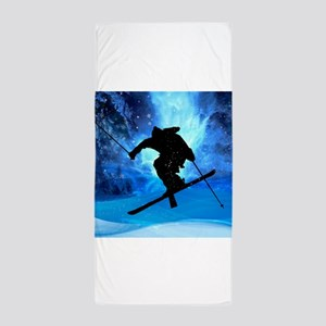 Winter Landscape and Freestyle Skier.p Beach Towel