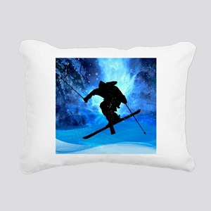 Winter Landscape and Fre Rectangular Canvas Pillow