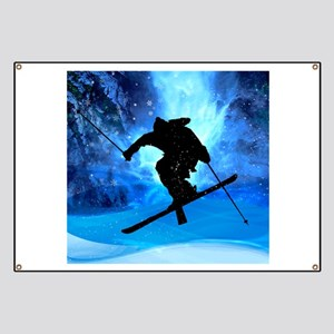 Winter Landscape and Freestyle Skier Banner