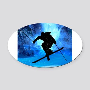 Winter Landscape and Freestyle Ski Oval Car Magnet