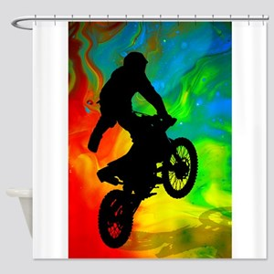 Motocross in a Solar Melt Down  Shower Curtain