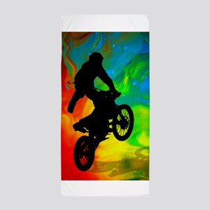Motocross in a Solar Melt Down  Beach Towel