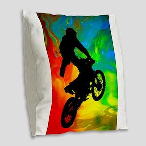 Motocross in a Solar Melt Down Burlap Throw Pillow