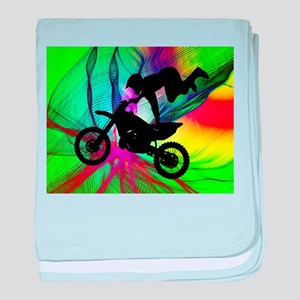 Motocross in a Psychedelic Spider Web baby blanket