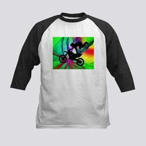 Motocross in a Psychedelic Spider Baseball Jersey