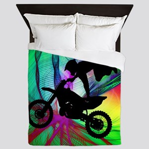 Motocross in a Psychedelic Spider Web. Queen Duvet