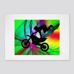 Motocross in a Psychedelic Spider W 5'x7'Area Rug