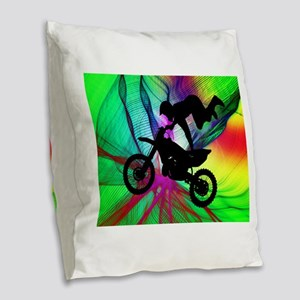 Motocross in a Psychedelic Spi Burlap Throw Pillow