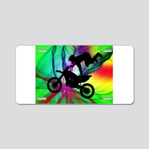 Motocross in a Psychedelic Aluminum License Plate