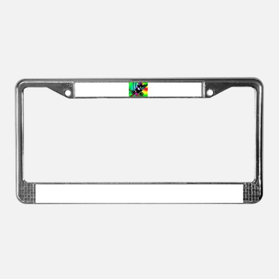 Motocross in a Psychedelic Spi License Plate Frame