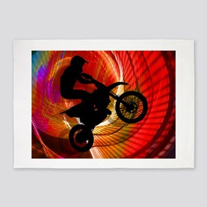 Motocross Light Streaks in a Windtu 5'x7'Area Rug