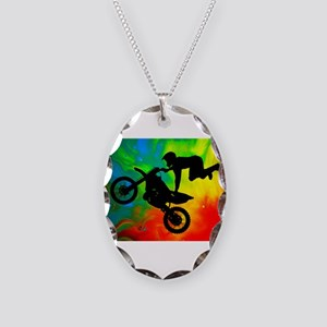 Solar Flare Up Motocross Necklace Oval Charm