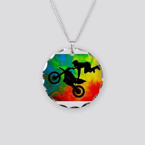 Solar Flare Up Motocross Necklace Circle Charm