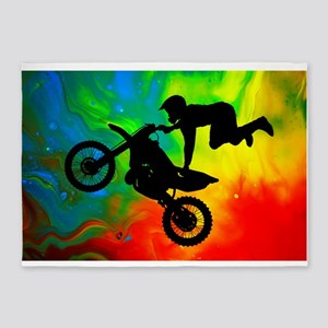Solar Flare Up Motocross 5'x7'Area Rug