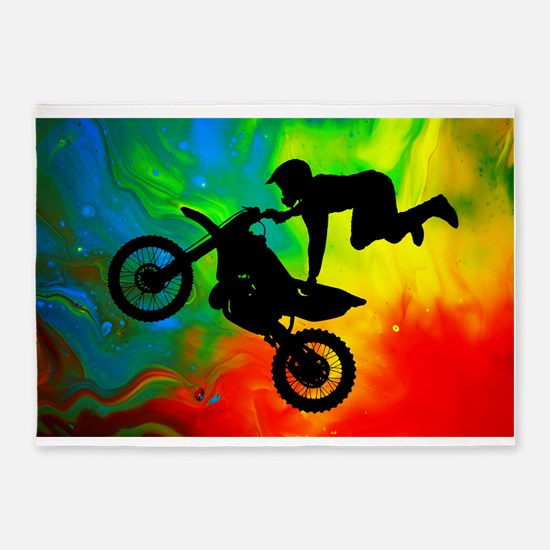 Solar Flare Up Motocross.png 5'x7'Area Rug