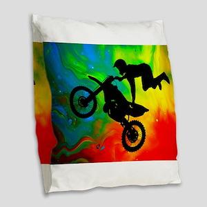 Solar Flare Up Motocross Burlap Throw Pillow