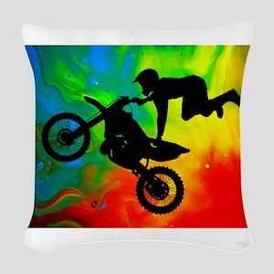Solar Flare Up Motocross Woven Throw Pillow