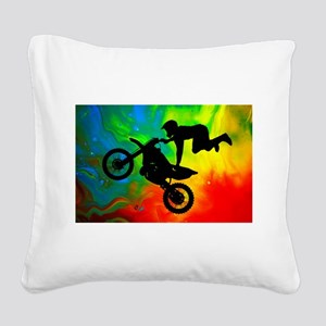 Solar Flare Up Motocross Square Canvas Pillow