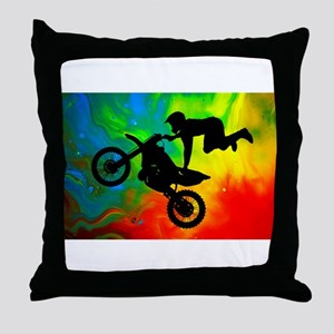 Solar Flare Up Motocross Throw Pillow