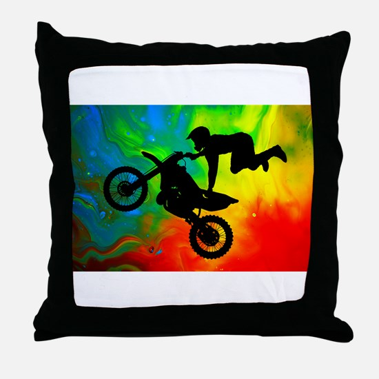 Solar Flare Up Motocross.png Throw Pillow