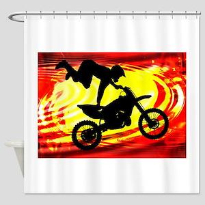 Explosive Motocross Jump Shower Curtain