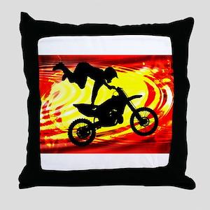 Explosive Motocross Jump Throw Pillow