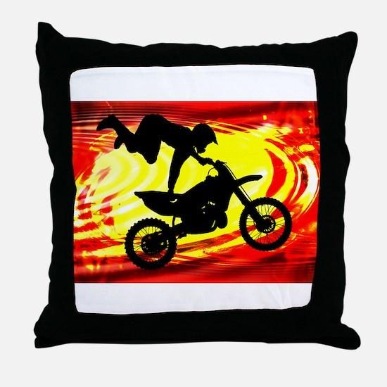 Explosive Motocross Jump.png Throw Pillow
