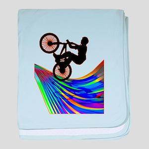 BMX on a Rainbow Road baby blanket