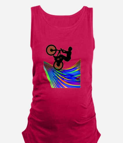 BMX on a Rainbow Road.png Maternity Tank Top