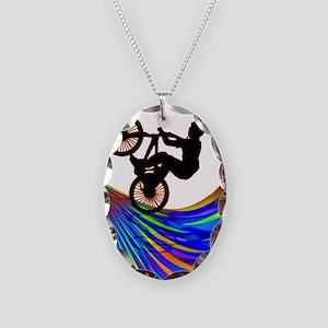 BMX on a Rainbow Road Necklace Oval Charm