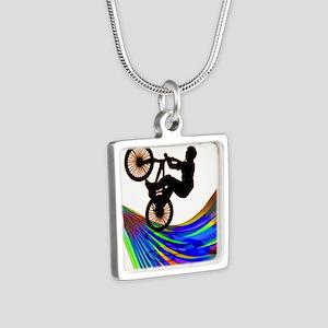 BMX on a Rainbow Road Necklaces