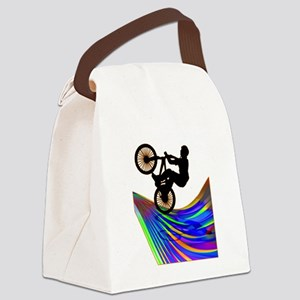 BMX on a Rainbow Road Canvas Lunch Bag
