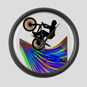 BMX on a Rainbow Road Large Wall Clock