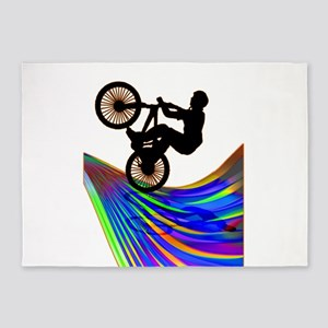 BMX on a Rainbow Road 5'x7'Area Rug