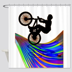 BMX on a Rainbow Road Shower Curtain