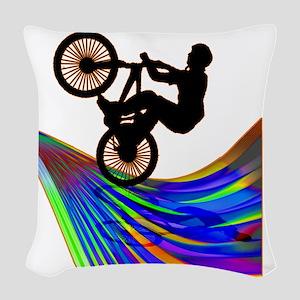 BMX on a Rainbow Road Woven Throw Pillow