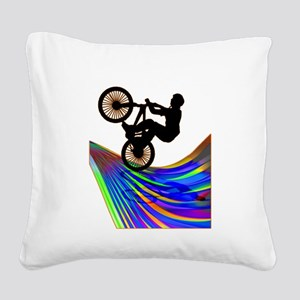 BMX on a Rainbow Road Square Canvas Pillow