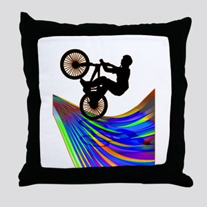 BMX on a Rainbow Road Throw Pillow
