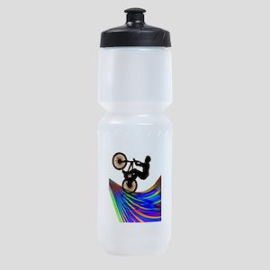 BMX on a Rainbow Road Sports Bottle