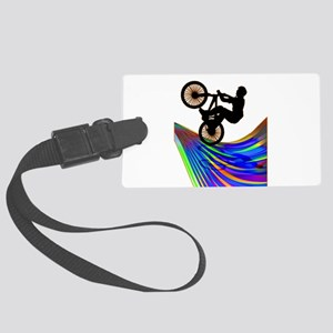 BMX on a Rainbow Road Large Luggage Tag