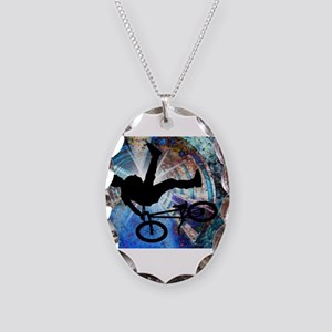BMX in a Grunge Tunnel Necklace Oval Charm