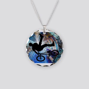 BMX in a Grunge Tunnel Necklace Circle Charm