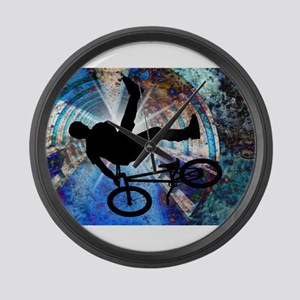 BMX in a Grunge Tunnel Large Wall Clock
