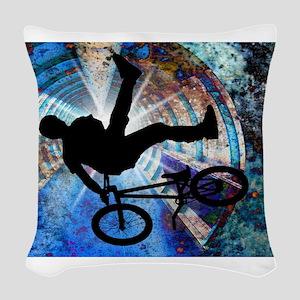 BMX in a Grunge Tunnel Woven Throw Pillow