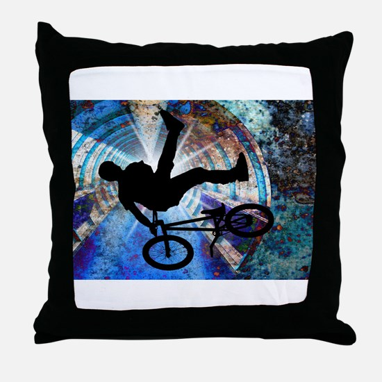 BMX in a Grunge Tunnel.png Throw Pillow