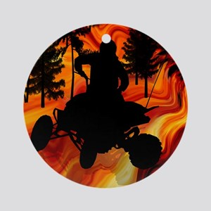 ATV on the Road from Hell Queen.p Ornament (Round)