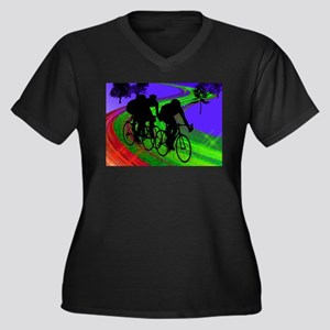 Cycling Trio on Ribbon Road Plus Size T-Shirt