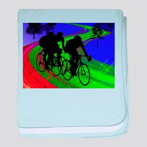 Cycling Trio on Ribbon Road baby blanket