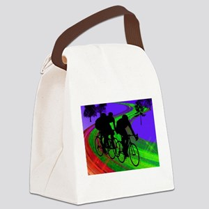 Cycling Trio on Ribbon Road Canvas Lunch Bag